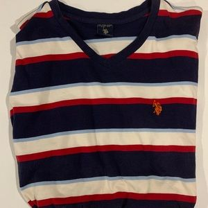 US polo Assn. striped V-neck tee